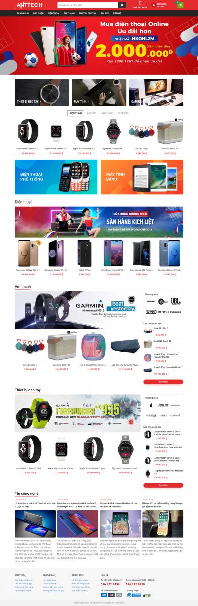 Mẫu giao diện thiết kế website điện máy Pelican