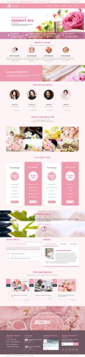Mẫu giao diện website thẩm mỹ viện Priority Spa